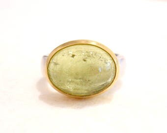 Silver gold ring with green Beryl