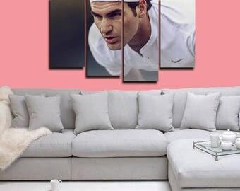 Roger Federer Poster Roger Federer Canvas Tennis Print Wall Decor Wall Art Large Print Multi Panel Home Decoration Birthday gift Canvas art