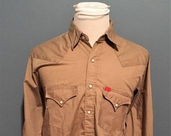 Vintage Ely Plains Tan Pearl Snap Button Down Shirt / Cowboy Shirt / Western Snap shirt / 80s vintage shirt Large