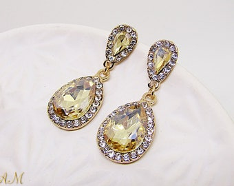 Gold Wedding Earrings, Champagne Earrings, Teardrop Bride Earrings, Wedding Jewelry, Bridesmaid Earrings, Crystal Earrings, Bridesmaid Gift