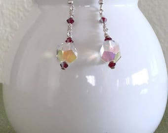 Dangle Earrings - Faceted Crystal, Red Garnet, Sterling Silver