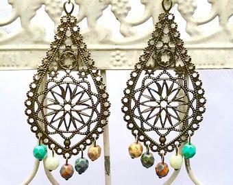 Chandelier Baroque Filigree Czech multicolor glass beads drop earrings antique brass