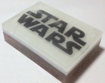 handmade organic soap, star war image on the bar soap, picture soap