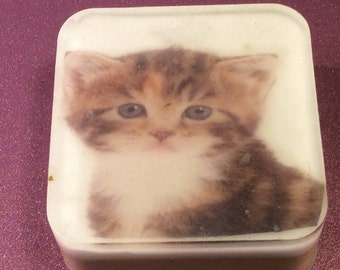 Handmade organic soap/Cute cat image/ picture soap