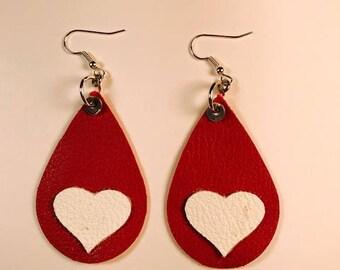 Valentine earrings, Red Leather, Teardrop earrings, Drop earrings, Red and white earrings