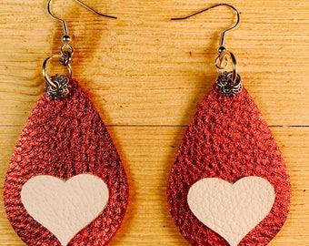 Leather earrings, Bold earrings, Teardrop earrings, Large earrings, Valentine earrings