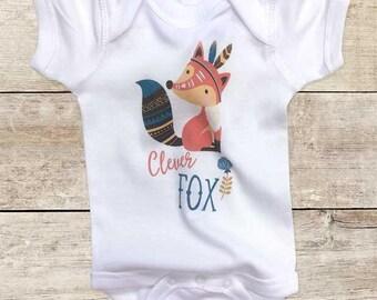 Clever Fox bohemian boho design cute fox baby bodysuit baby shower gift - Made in America - cute birthday baby gift baby birth pregnancy