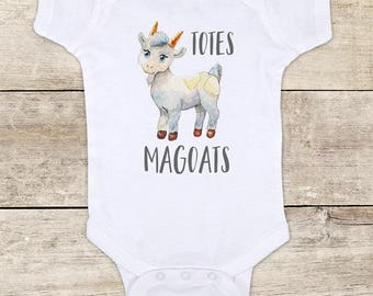 Totes Magoats funny cute goat watercolor boho hippie hipster design baby bodysuit baby shower gift - Made in USA - toddler kids youth shirt