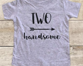 TWO handsome with Right Arrow boho Second 2nd Birthday Shirt for Boy or Girl - bohemian hipster hippie kids youth birthday shirt