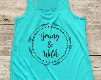 Young & Wild boho arrows hippie hipster design Girls Kids Bohemian Arrows Youth Flowy Racerback Soft Tank Top