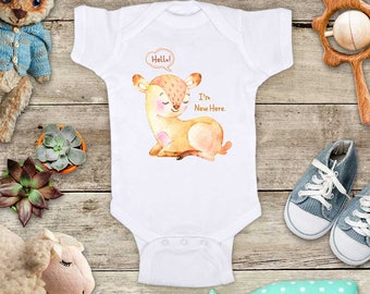 Hello I'm New Here. Cute baby Deer Baby bodysuit - cute birthday baby shower gift baby birth pregnancy announcement