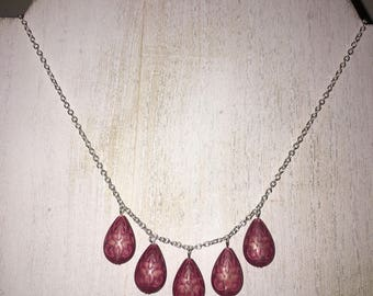 Vintage Mauve Teardrop Bead Bauble Necklace