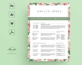 Floral Resume Template / CV template / FREE Cover letter