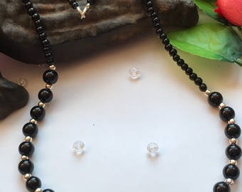 Black and Silver Bead Necklace, Black Necklace, Classic Style Necklace, Black Glass Necklace, Black Pearl necklace