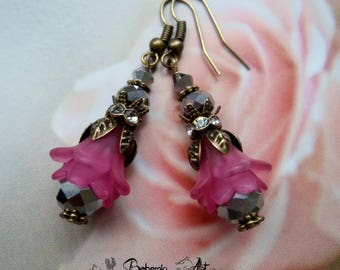 Lucite flower earrings, victorian earrings, boho earrings, pink earrings, earrings gift, bronze drop earring