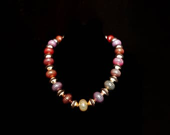 80s Chunky Multi-Colored Bead Necklace     LV0061