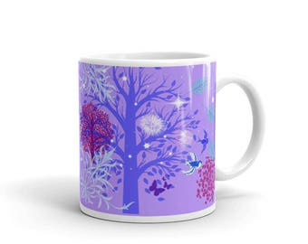 Fun and Fanciful Coffee Mug, Trees and Starburst Patterns, Modern Art, Nature Art