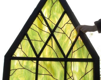 Stained glass hanging panel in vintage window frame