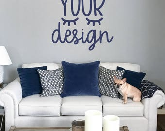 gray mock up blank wall, your design here, frenchie dog, mock-up, mockup, styled photo couch, pillow, jpeg instant download, svg display,dog