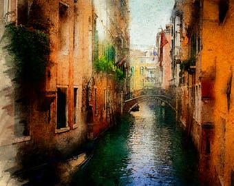 Venice canal digital watercolor painting-printable-wall decor-art for the house-wall art-gift for-digital download-city painting-cityscape