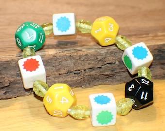 Artisan D12 Dice Bracelet - DnD Dice - Vintage Splat Dice - Lampwork Glass Beads - Upcycled - Game Piece Collection