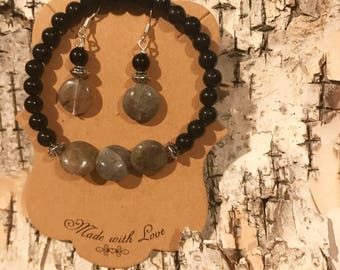 Black Obsidian and Labradorite