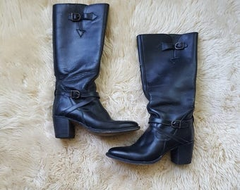 sz. 6.5 | Vintage Frye Leather Moto Boots