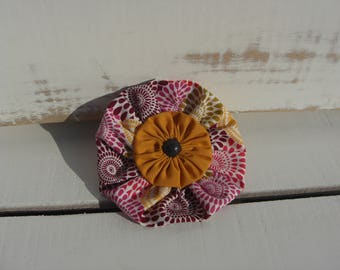 Pink and Mustard Patterned Ruffle Circle Brooch