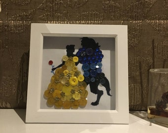 Beauty and the beast button art, perfect for any child who loves a Disney princess