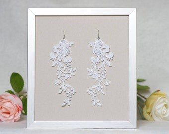 White floral earrings, Chandelier earrings, Dangle lace earrings, Wedding earrings, White lace earrings, Lace gift for her