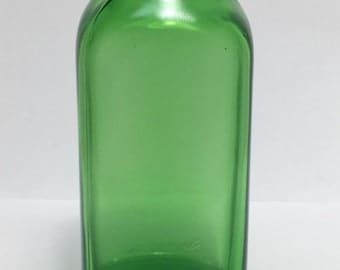 Antique Owens Illinois Emerald Green 8oz Duraglas Prescription Medicine Bottle Apothecary Pharmacy