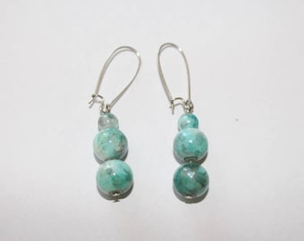 Earrings of glass beads 10mm and 6mm in Turquoise bleu