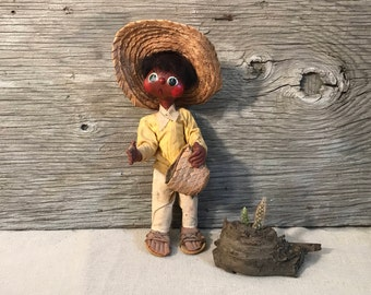 Vintage Mexican Gourd Marionette Doll - Handmade