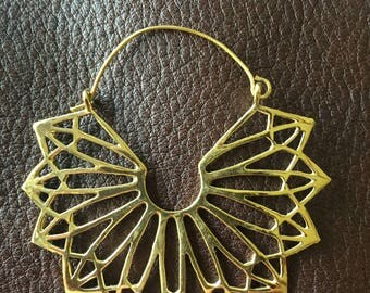 Large Indian Brass Pendant Earrings with Geometric Fan Design