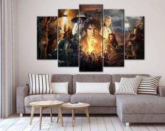 Bilbo Baggins Canvas, The Hobbit wall decor, Battle Five Armies, Gandalf Canvas, Multipanel wall decor, Large Print, Wall Art, Gift for geek