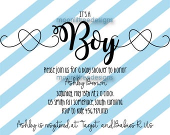 It's A Boy/Girl Baby Shower Invitation Custom Printable Digital Download