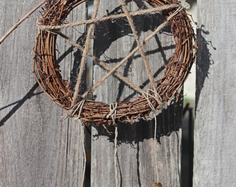 Pentacle Wreath, Protection Mojo Bag, Gemstones and Herbs, Pagan, Wiccan, Dreamcatcher