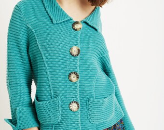 Oversized Teal Granny Loose Knit Cardigan