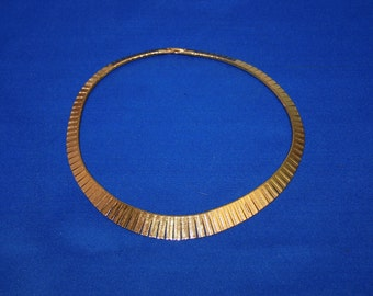 Vintage Napier Gold Tone Choker 100 Individual Etched Sections Collectible Jewelry Necklace Costume Jewelry