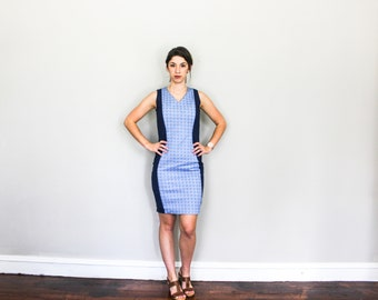 Shift Dress // Two Tone// Knee Length// Cocktail dress// Work dress// Blue Sleeveless // MADE TO MEASURE