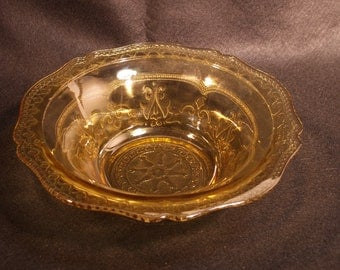 Federal Glass Serving Bowl - Amber Patrician Pattern