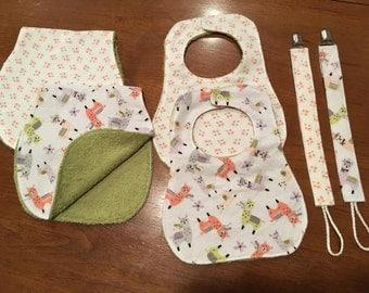 Baby Shower Gifts Burp Cloths, Bibs, & Pacifier Clips Girl Set