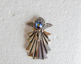 Silver tone Angel Pin w/ Iridescent crystal