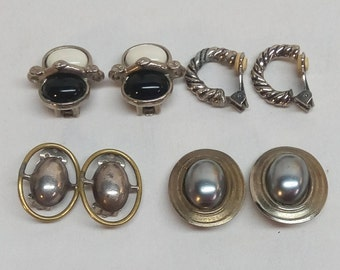 Lot Of 4 Women's Clipon Vintage Costume Earrings Clip On Silver Tone - ovals, hoops, black & white