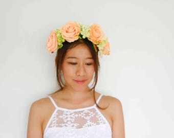 apricot rose floral crown - [bridal, hydrangeas, open-back crown]