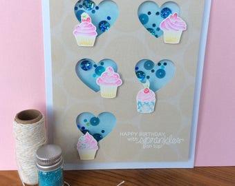 Handmade love cupcakes birthday card