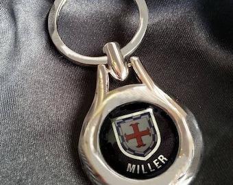 MILLER Chrome Key Ring Fob Keyring Scottish Irish Clan Gift Idea