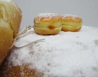 Krapfen-earrings, ear hangers, realistic and hand sculpted in polymer clay, birthday present, pastry, miniature