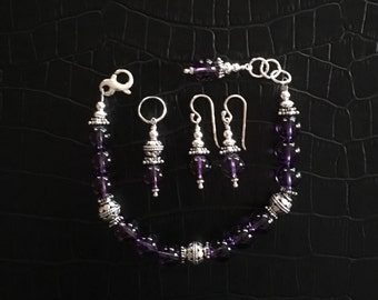 amethyst and sterling silver jewelry set