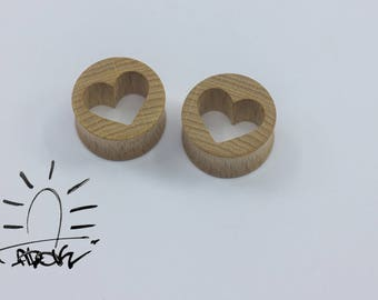 Plugs with hearts, carved plugs, heart plug, heart gauges, heart tunnels, Love plugs, love gauges, wood ear plugs, wooden ear gauges